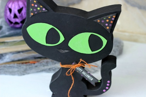 Paper Mache Halloween Black Cat embellished with the @pebblesinc Boo! collection created by @ribbonsandglue