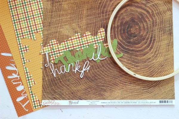 Thankful die cut shaped made with @pebblesinc Harvest Collection