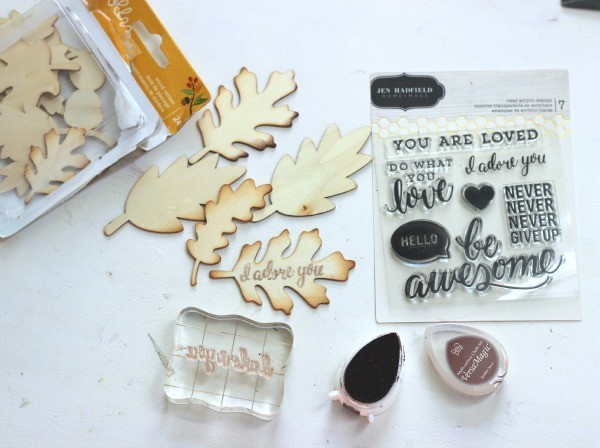 Stamped Wood Veneer Leaves from @pebblesinc Harvest collection created by @ribbonsandglue