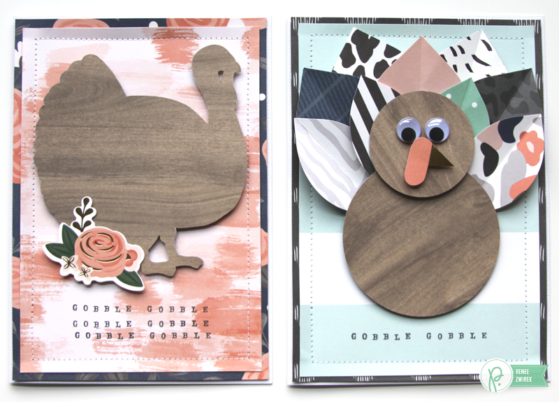 Turkey cards by @reneezwirek using the #JHDIYHome collection by @PebblesInc. and @Tatertots and Jello .com