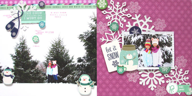 Documenting a Christmas Card photo shoot with this Let It Snow Double Page Layout by @reneezwirek using the #WinterWonderland collection by @PebblesInc.
