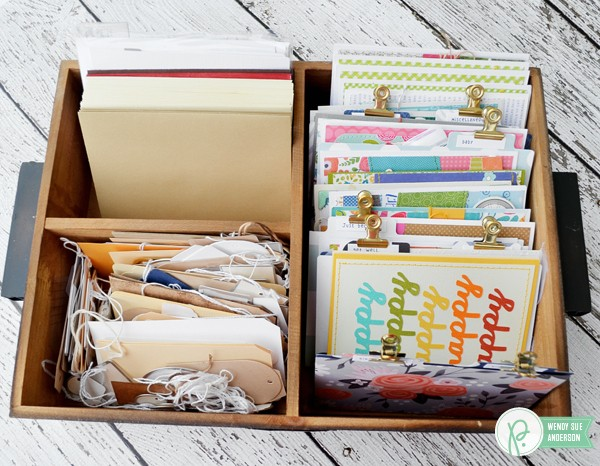 How to organize handmade greeting cards - a project by @wendysuea with the DIY Home Collection by Jen Hadfield for @Pebblesinc.