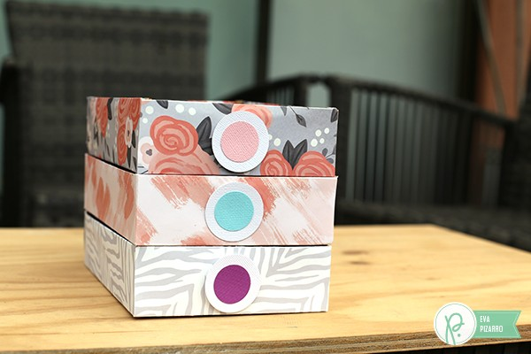 Stackable Die Cut organizer by @evapizarrov using the #DIYHome collection by @tatertotsjello and the #123punchboard by @wermemorykeeper
