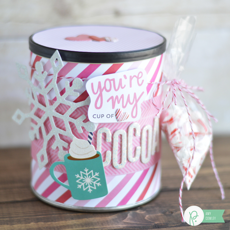 Learn how @thehappyscraps put this Hot Cocoa Valentine Quick Gift together using the @pebblesinc #bemine and #winterwonderland collections.