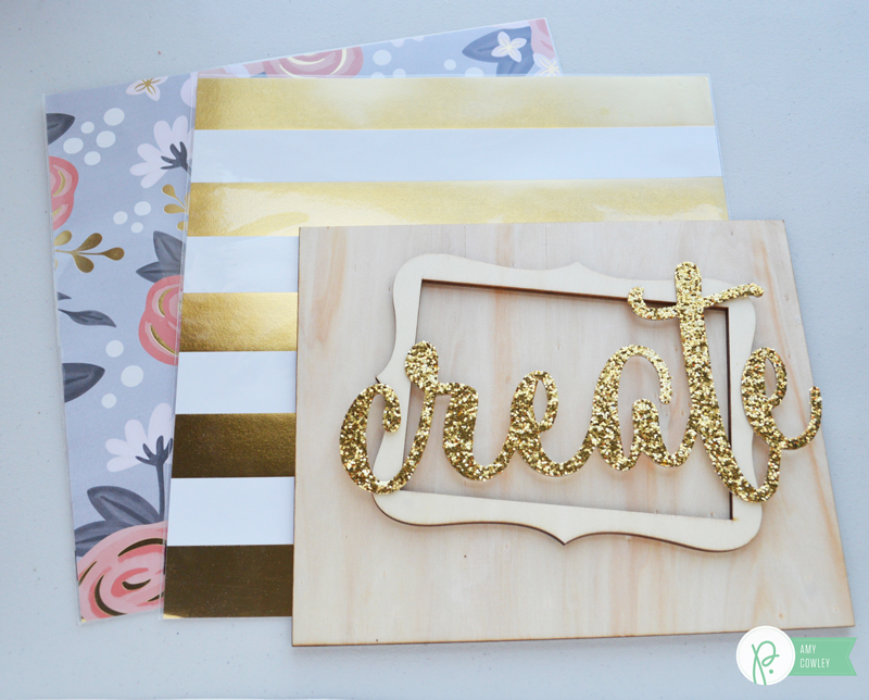 "Add bling to your creative space with this glittered ""Create"" decor with the tutorial from @thehappyscraps on the @pebblesinc blog using the #diyhome collection."