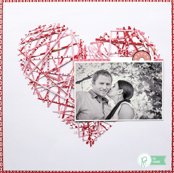 String Art inspired layout by @evapizarrov using the new valentine's line #bemine from @pebblesinc