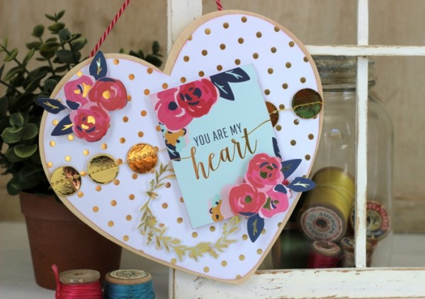 Wood Heart Plaque embellished with @pebblesinc Everyday collection by @jenhadfield created by @ribbonsandglue