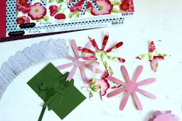 Assembling Potted Paper Flower cut file made with Silhouette and the @pebblesinc Everyday collection