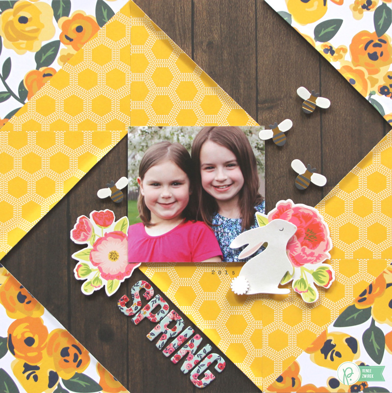 Spring layout by @reneezwirek using the #JHEveryday and #SpringFling collections by @pebblesinc and @Tatertots and Jello .com