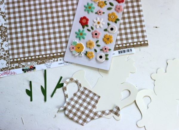Spring Watering Can Card made with the @pebblesinc Spring Fling collection and @silhouetteamerica