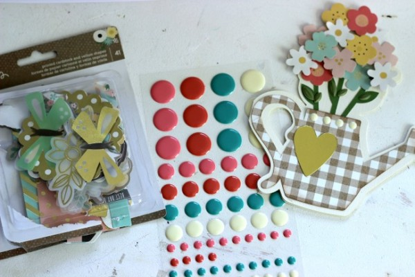 Spring Watering Can Card made with the @pebblesinc Spring Fling collection