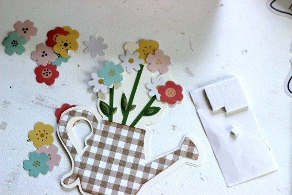 Spring Watering Can Card made with the @pebblesinc Spring Fling collection and @heidiswapp Minc foil