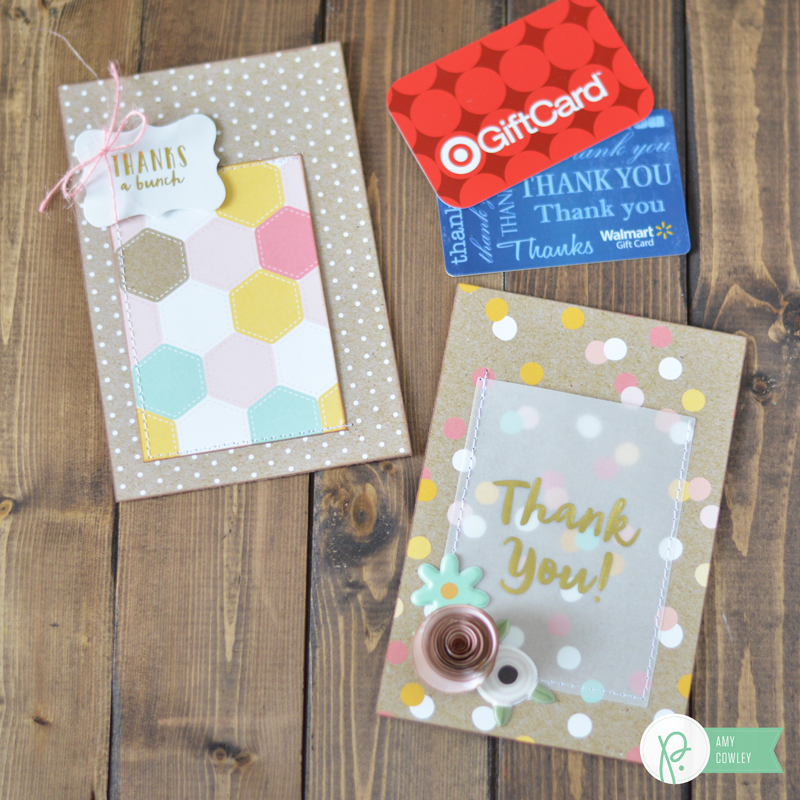 Any teacher will love this gift from @thehappyscraps. Make a cute gift card holder with the #springfling collection from @pebblesinc, and brighten the teachers day.