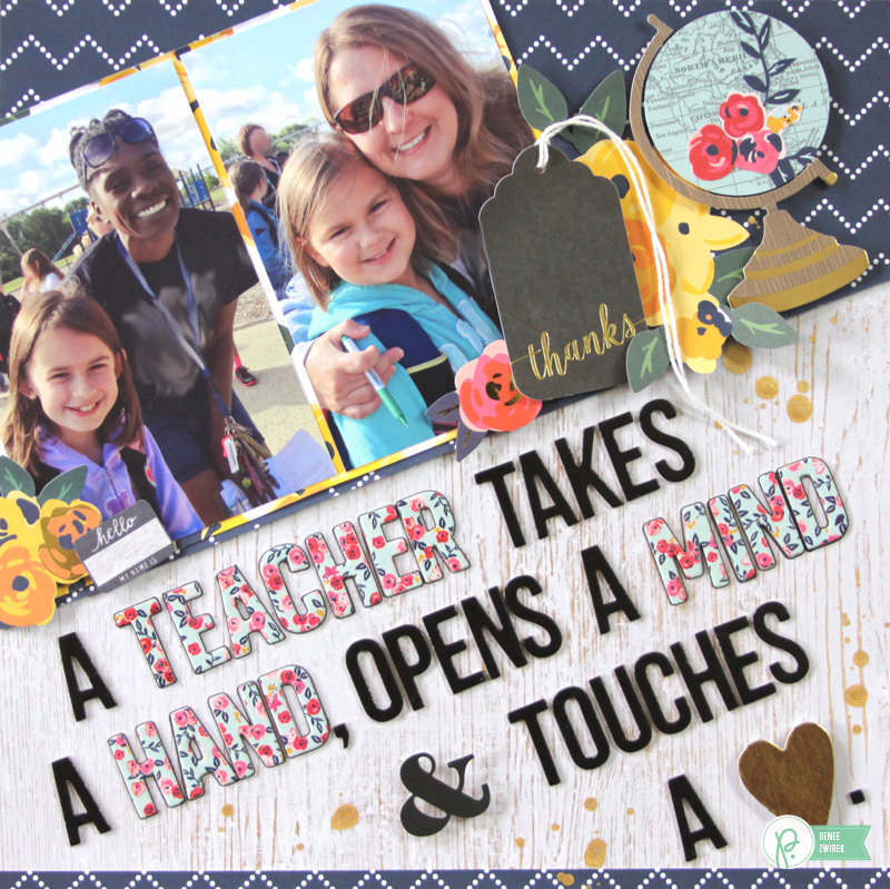 Celebrating those amazing teachers in your chiild's life with A Teacher layout by @reneezwirek using the #JHEveryday collection by @pebblesinc and @Tatertots and Jello .com
