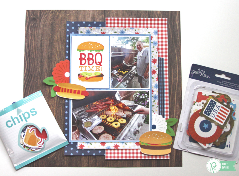 Yum! Pass the plate please with this BBQ Time! Layout by @reneezwirek using the America the Beautiful collection by @pebblesinc
