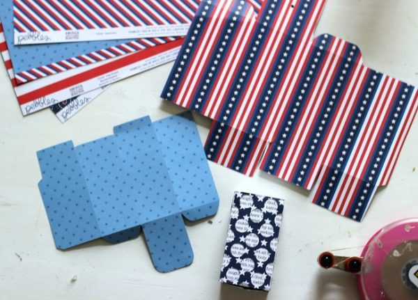 Firecracker Boxes made with @pebblesinc America the Beautiful collection and Silhouette CAMEO