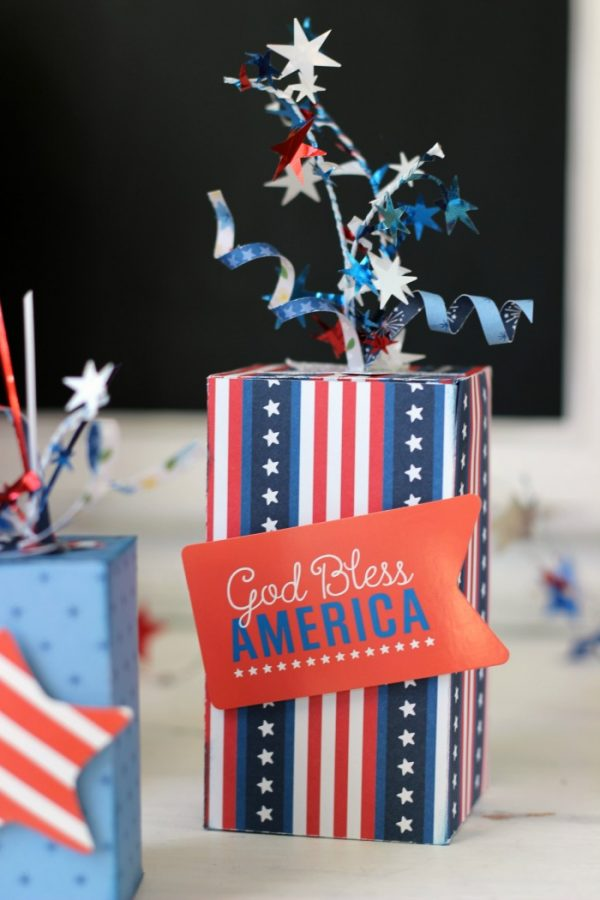Firecracker Boxes made with @pebblesinc America the Beautiful collection created by @ribbonsandglue