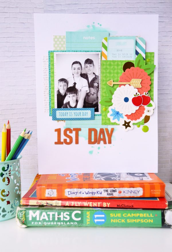 Fun Back to School layout using interactive journaling elements by @leanne_allinson for @PebblesInc.