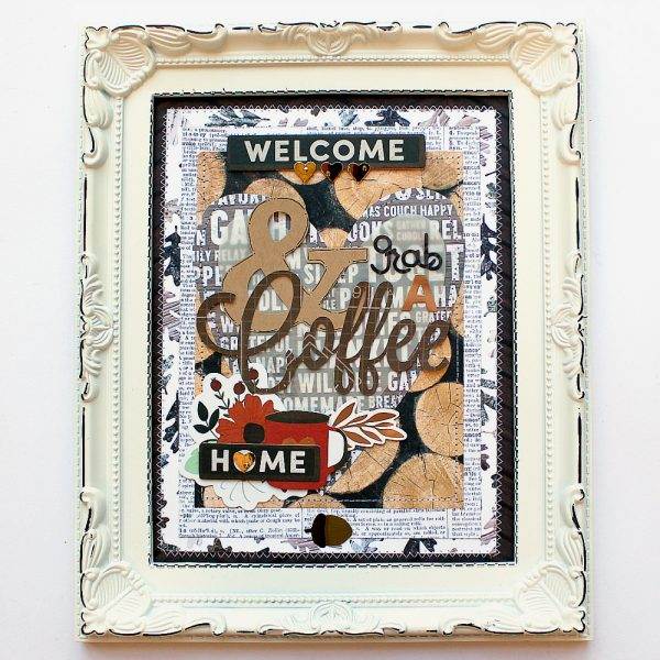 Grab a coffee wall art made by @MoniqueLiedtke using the #WarmandCozy collection from @PebblesInc.