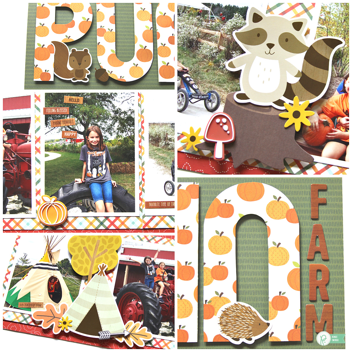 Love the BIG title on this Pumpkin Farm Double-Page Layout by @reneezwirek using the #WoodlandForest collection by @pebblesinc