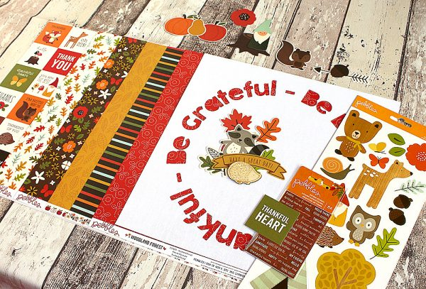 Thankful layout with matching cut file made by @MoniqueLiedtke using the #WoodlandForest collection from @PebblesInc.