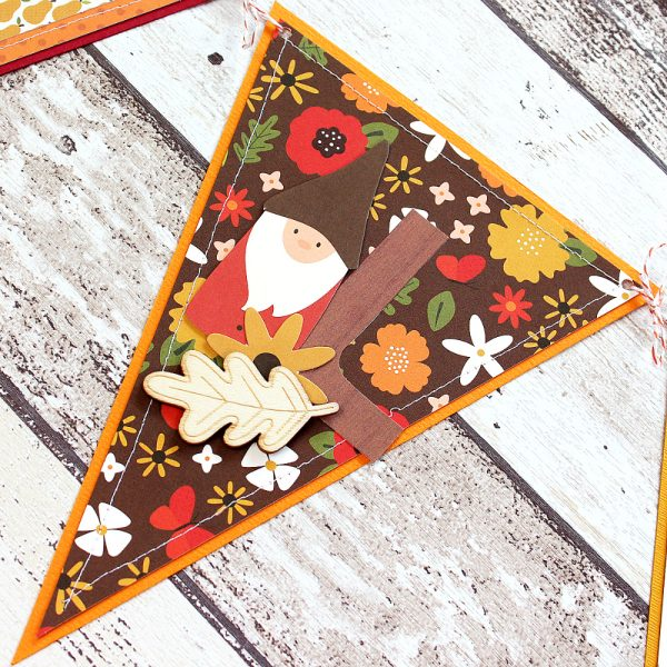 Decorative Fall Banner made by @MoniqueLiedtke using the #WoodlandForest collection from @PebblesInc.