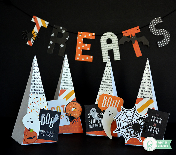 "Create this Quick Halloween Gift, a Candy Corn shaped box full of treats, by @WendySue using the ""Trick or Treat"" collection by @PebblesInc."