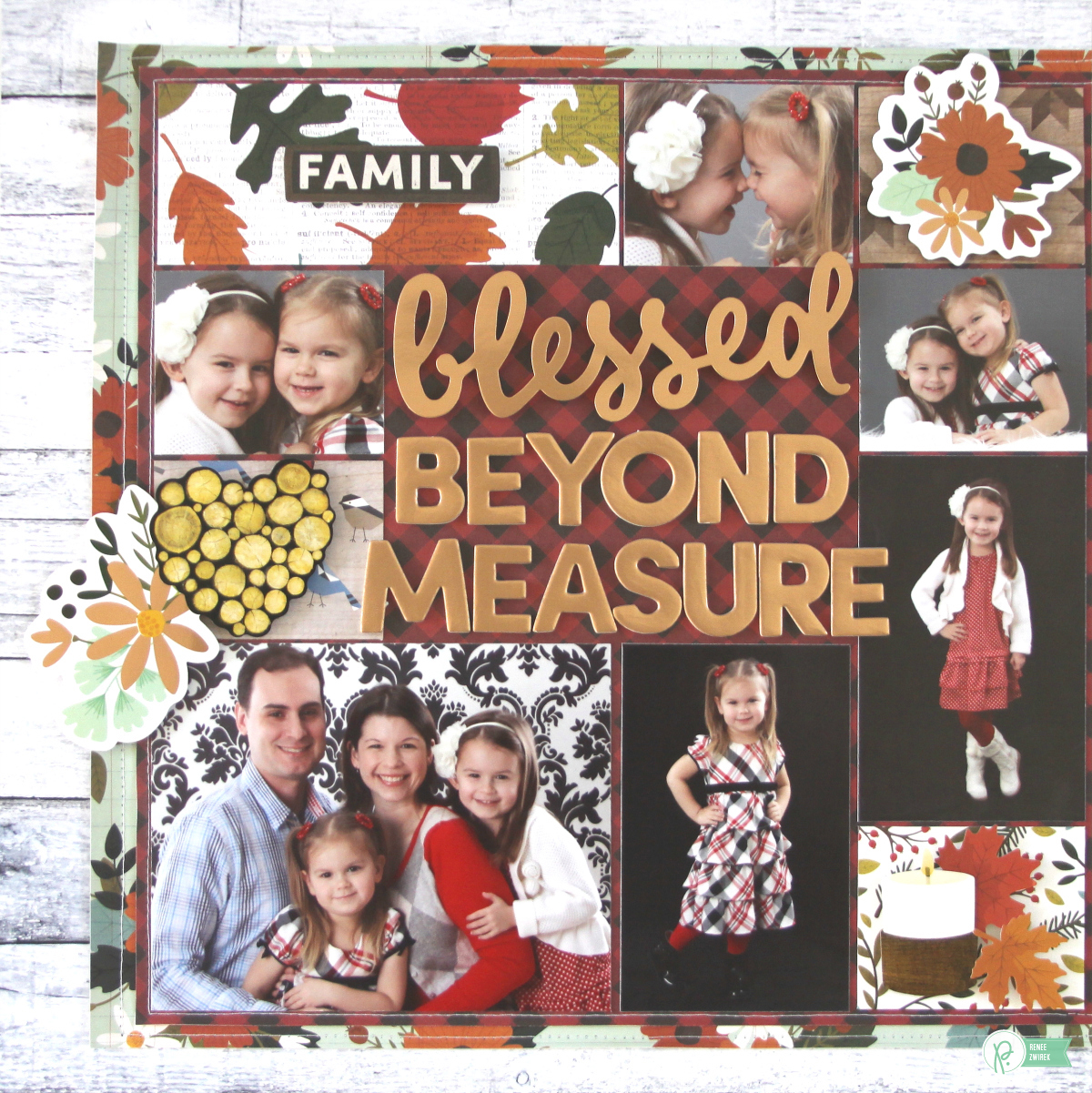 Scrapbook your favorite family photos and count your blessings with this Blessed Beyond Measure Double Page Layout by @reneezwirek using the #pbwarmandcozy collection by @pebblesinc and @Tatertots and Jello .com