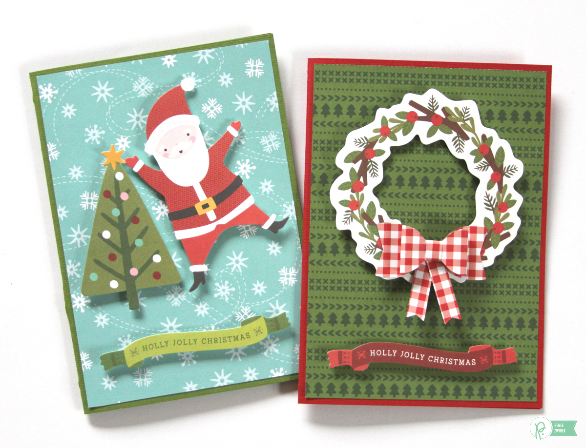 Create simple cards with a surprise gift card inside with these Christmas Gift Cards by @reneezwirek using the #HollyJolly collection by @pebblesinc