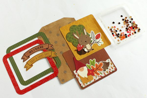 Fun Shaker Gift Cards made by @MoniqueLiedtke using the #WoodlandForest collection from @PebblesInc.