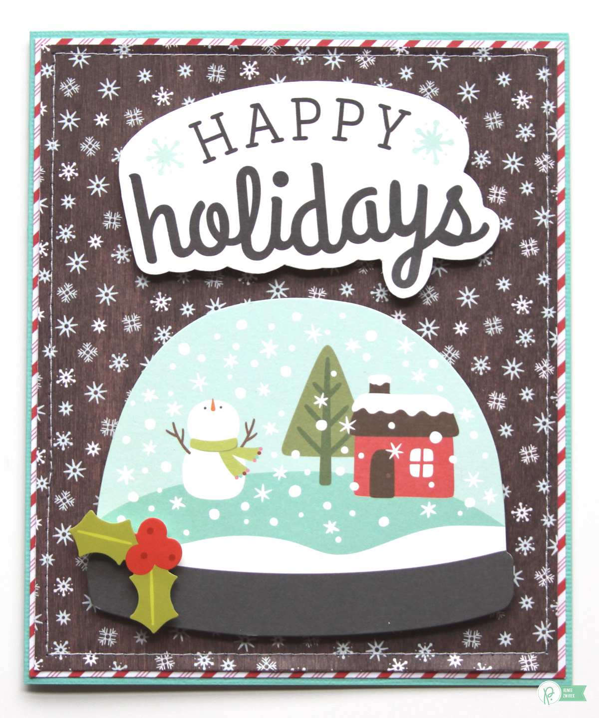 Create adorable cards to give teachers with these Christmas Cards by @reneezwirek using the #HollyJolly collection by @pebblesinc