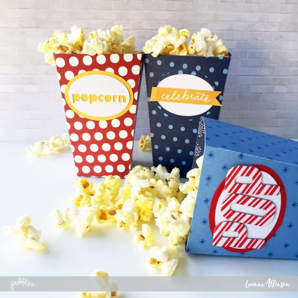 Create a little movie magic atmosphere with these cute @PebblesInc paper collection popcorn boxes as shared by @leanne_allinson.