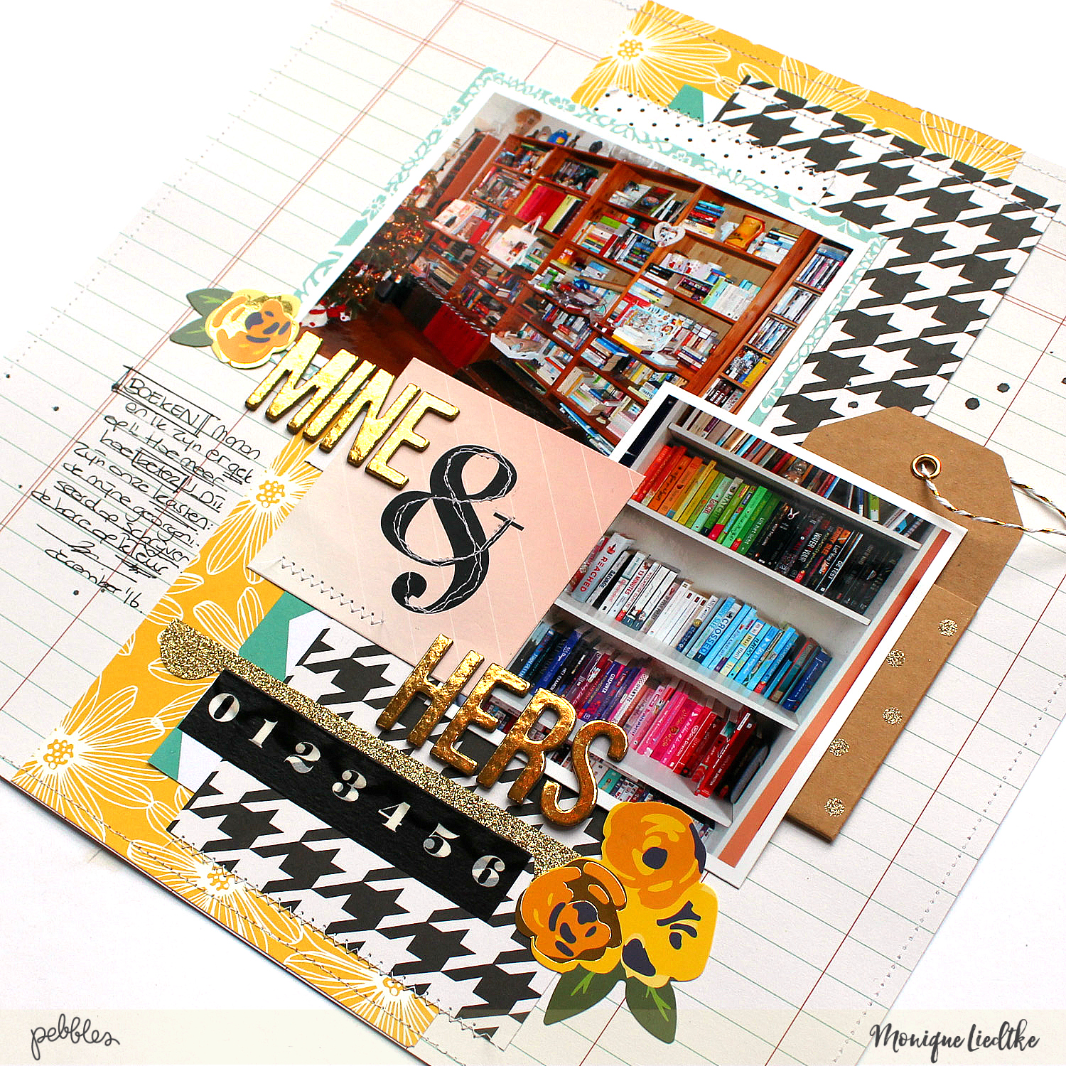 A layout about how to organize your books made by @MoniqueLiedtke using the #Homemade collection from @PebblesInc.