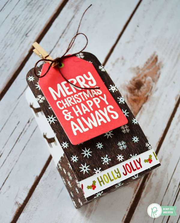 "Create this quick and easy Christmas gift by @wendysue with the ""Holly Jolly"" collection by @PebblesInc."