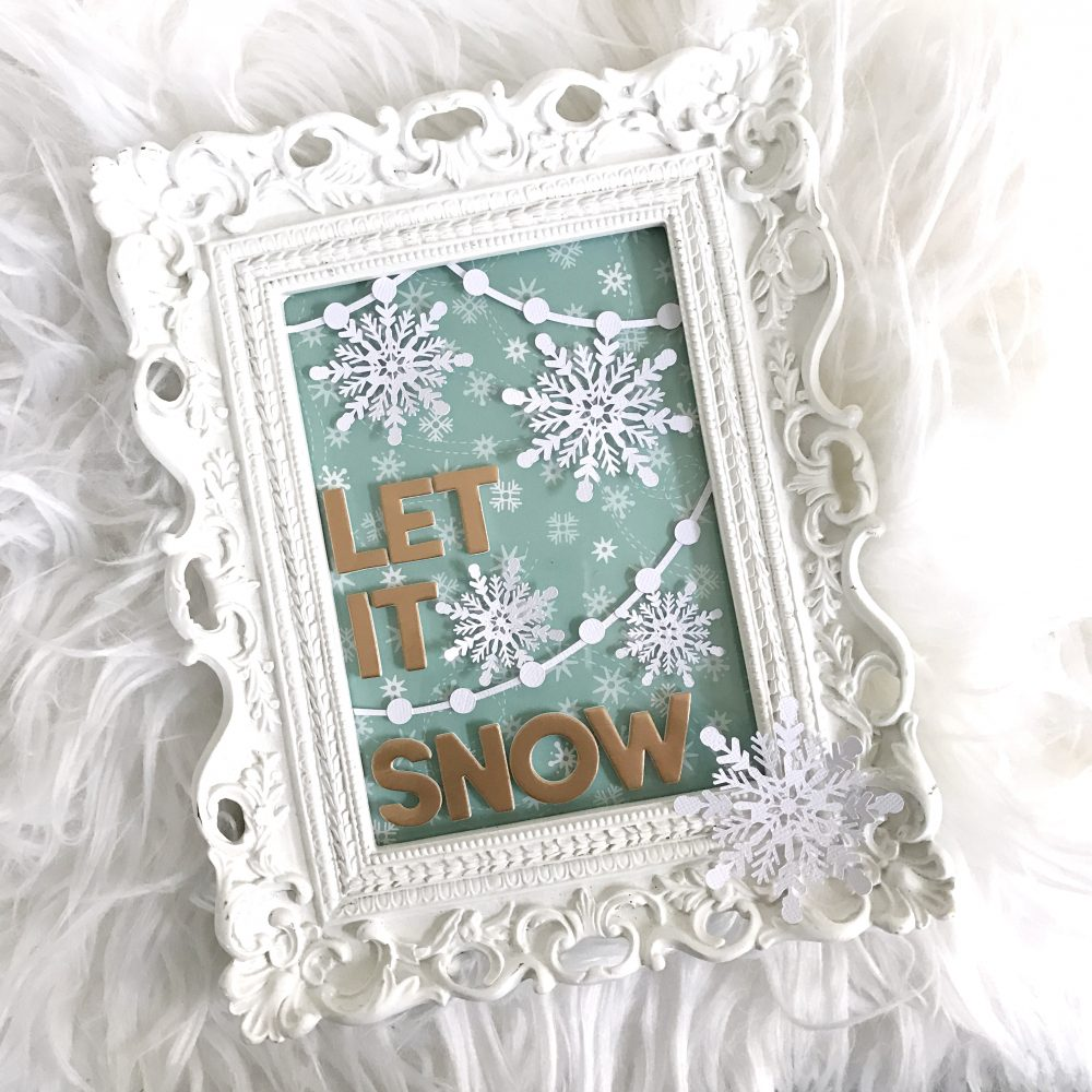 DIY Snowflakes Decor and free cut file by Heather Leopard using @pebblesInc Holly Jolly collection