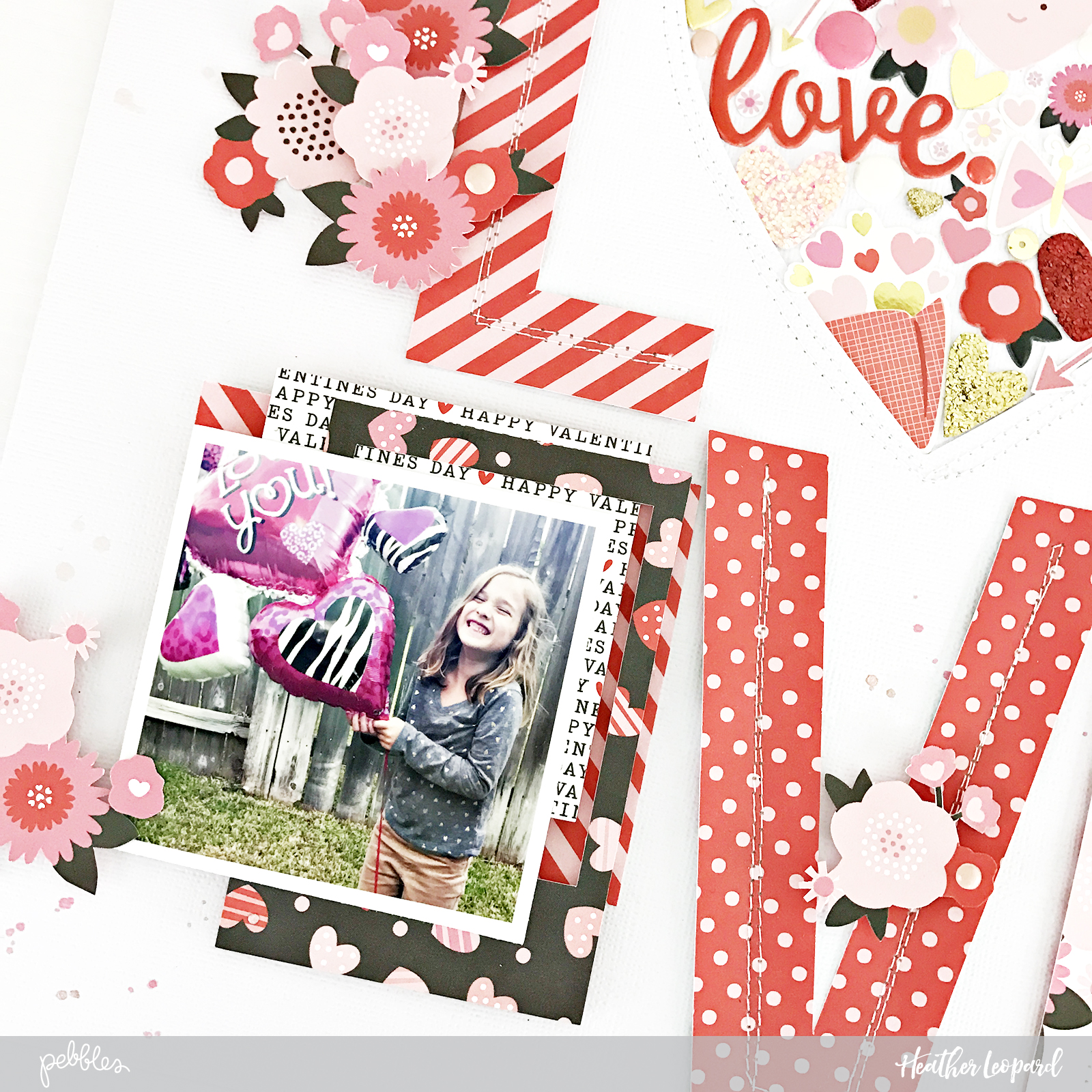 LOVE Scrapbooking layout, free cut file and tutorial from @heatherleopard and the #MyFunnyValentine collection by @pebblesinc #pebblesinc #valentines #diy #cutfile #love