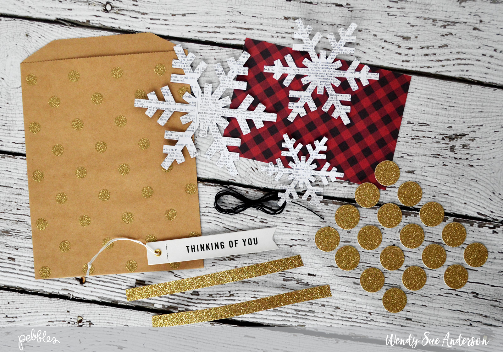 "Create a snowflake themed gift bag like this one by @wendysue using the ""warm & cozy"" collection and a few fun embellishments from the ""home+made"" collections by @pebblesinc"