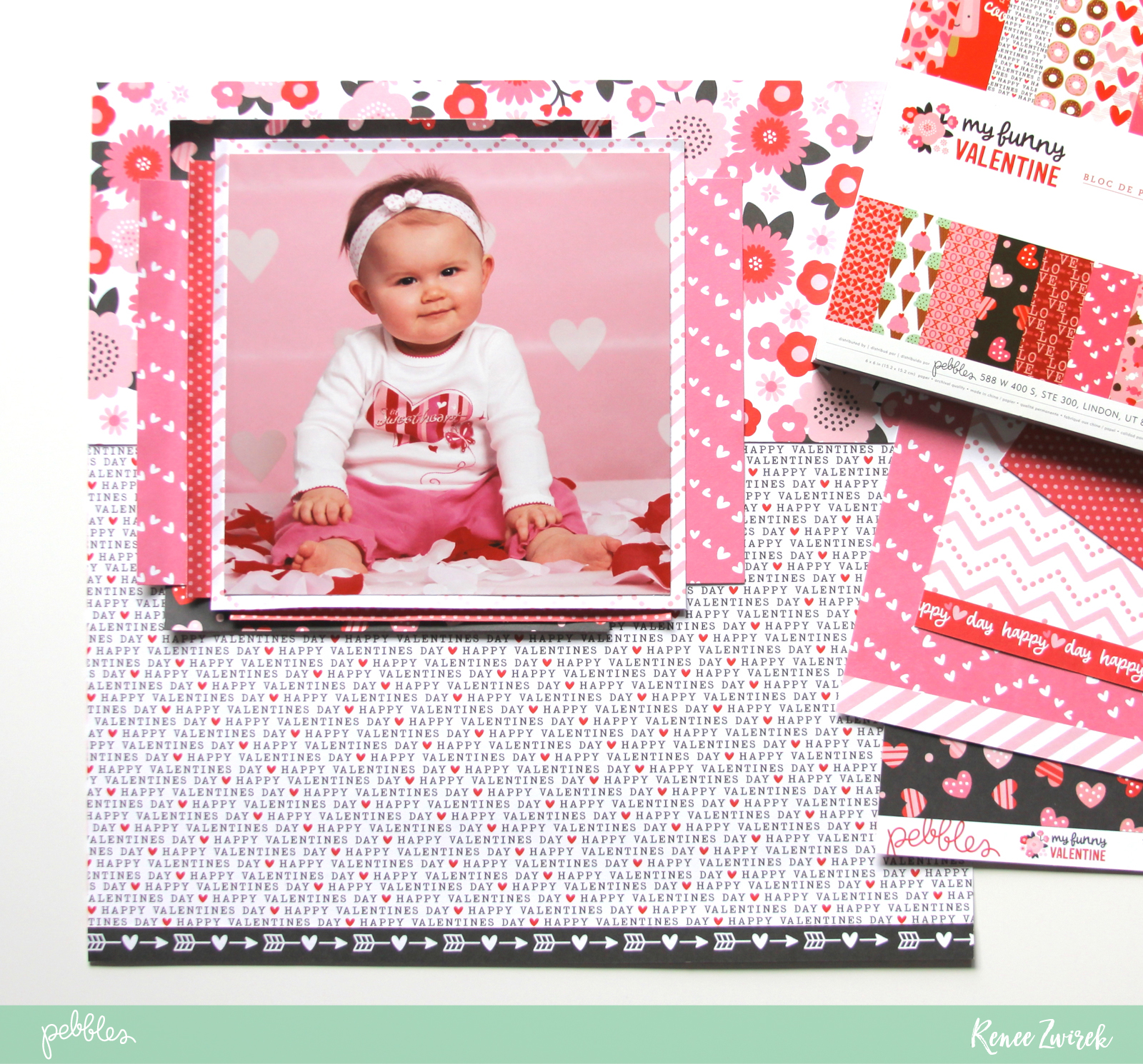 Scrapbook those special Valentine's Day photos with this I Love You layout by @reneezwirek using the #MyFunnyValentine collection by @pebblesinc