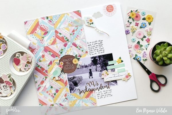 Use those left over papers and create a stunning layout with this tutorial from @evapizarrov and the new #Tealightful collection by @pebblesinc #madewithpebbles #pebblesinc #scrapbook #layout