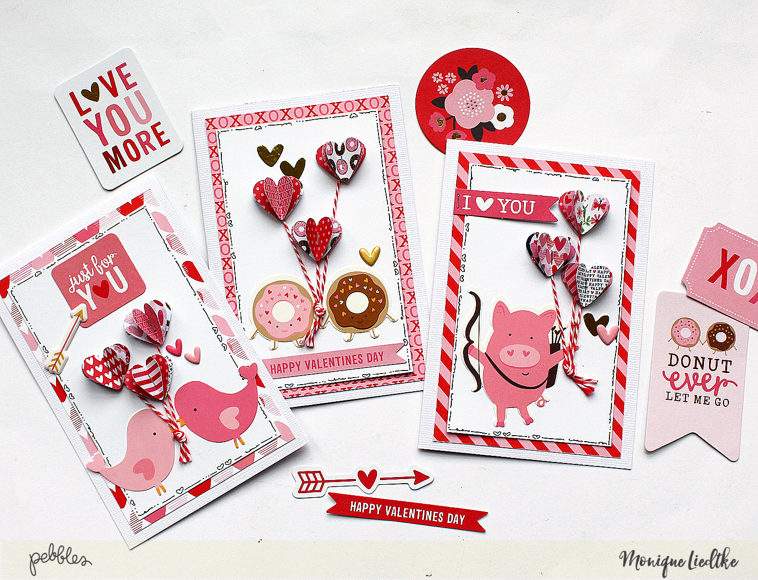 3D Hearts Cards made by @MoniqueLiedtke using the #MyFunnyValentine collection from @PebblesInc.