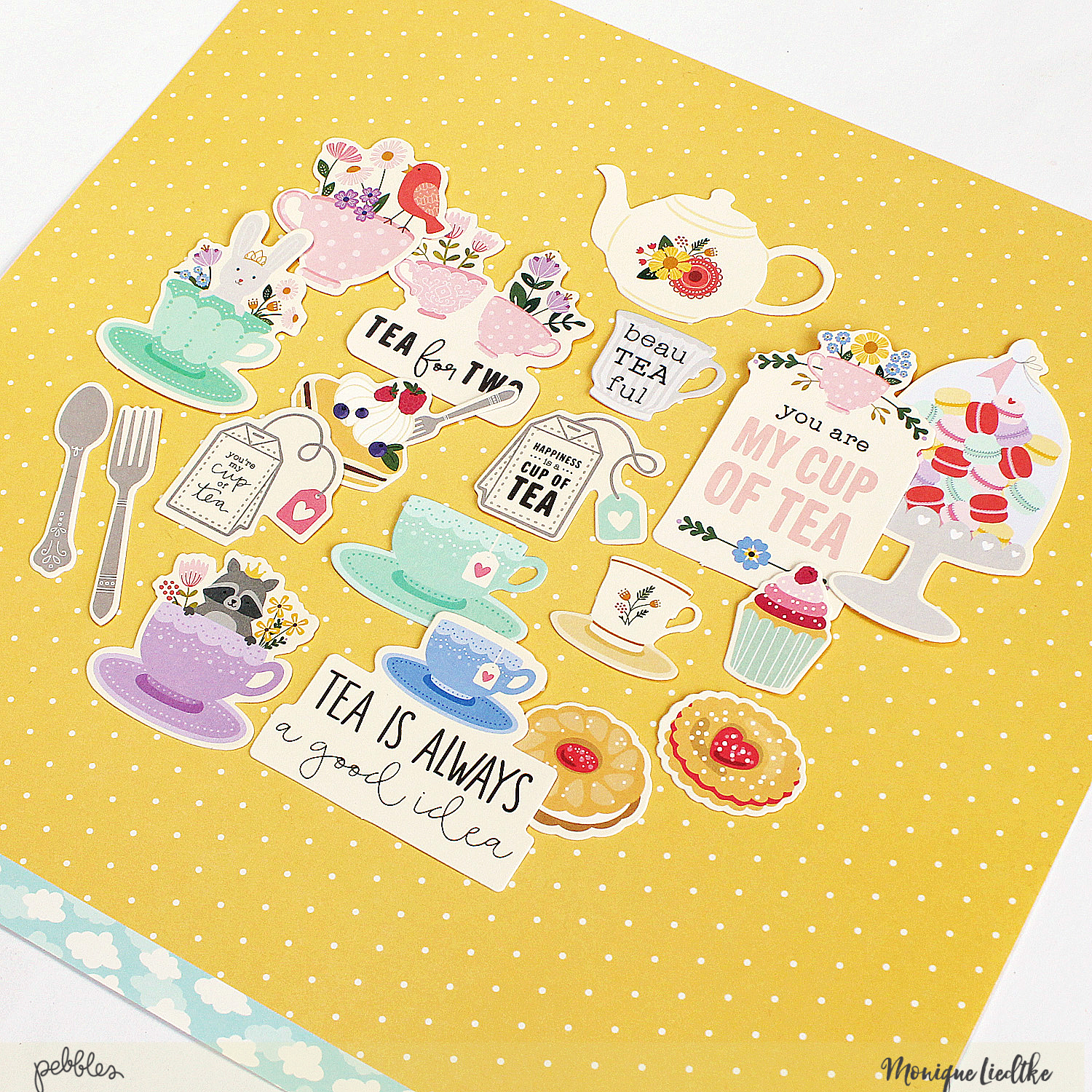 An afternoon tea kind of layout made by @MoniqueLiedtke using the #Tealightful collection from @PebblesInc.