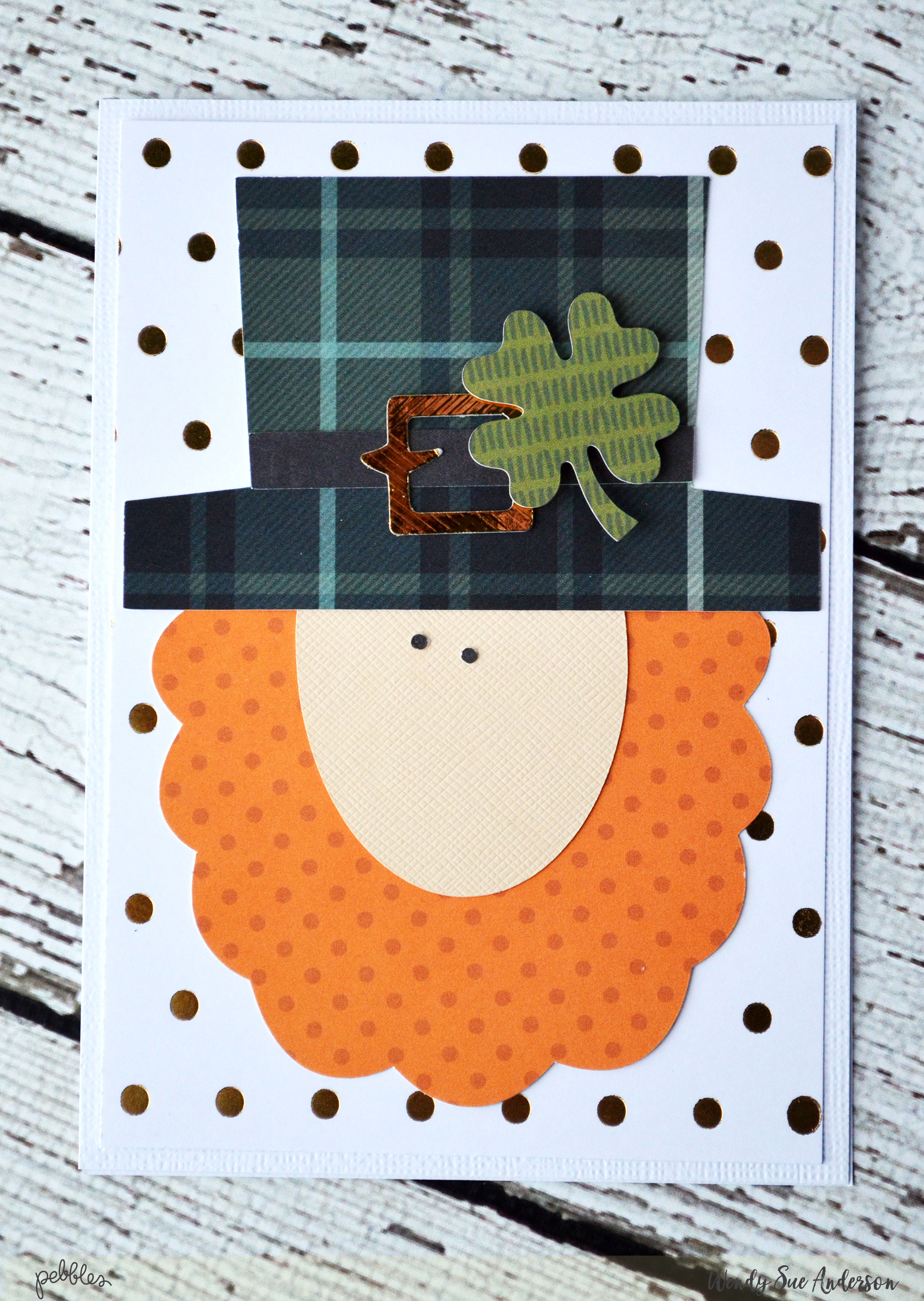 "Combine papers from the ""Warm & Cozy"" and ""Woodland Forest"" collections by #PebblesInc to create this top o' the morning St. Patrick's Day card by @Wendysue!"