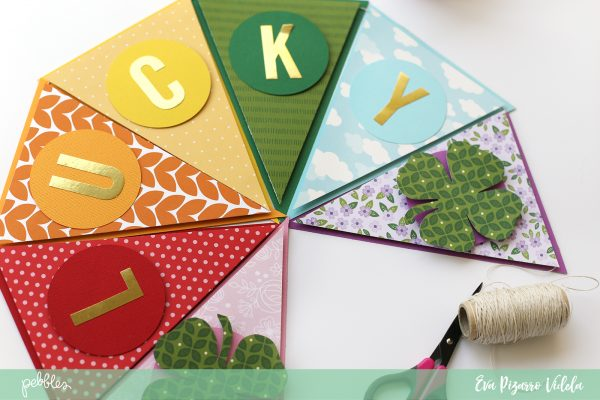 Create a Good Luck rainbow banner with this tutorial from @evapizarrov and @pebblesinc new line #Tealightful #diy #bannerpunchboard #madewithpebbles