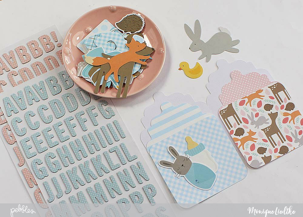 """Cute bottle shaped baby cards by @moniqueliedtke with the """"Lullaby"""" collection by @PebblesInc #madewithpebbles #pebblesinc #scrapbook_layout"""