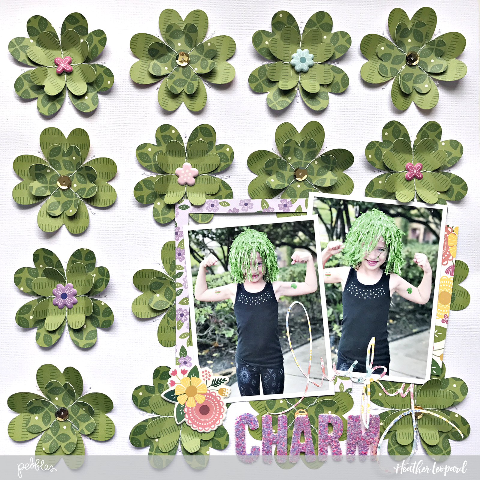Lucky Charm Layout by @HeatherLeopard using @pebblesinc #Tealightful collection