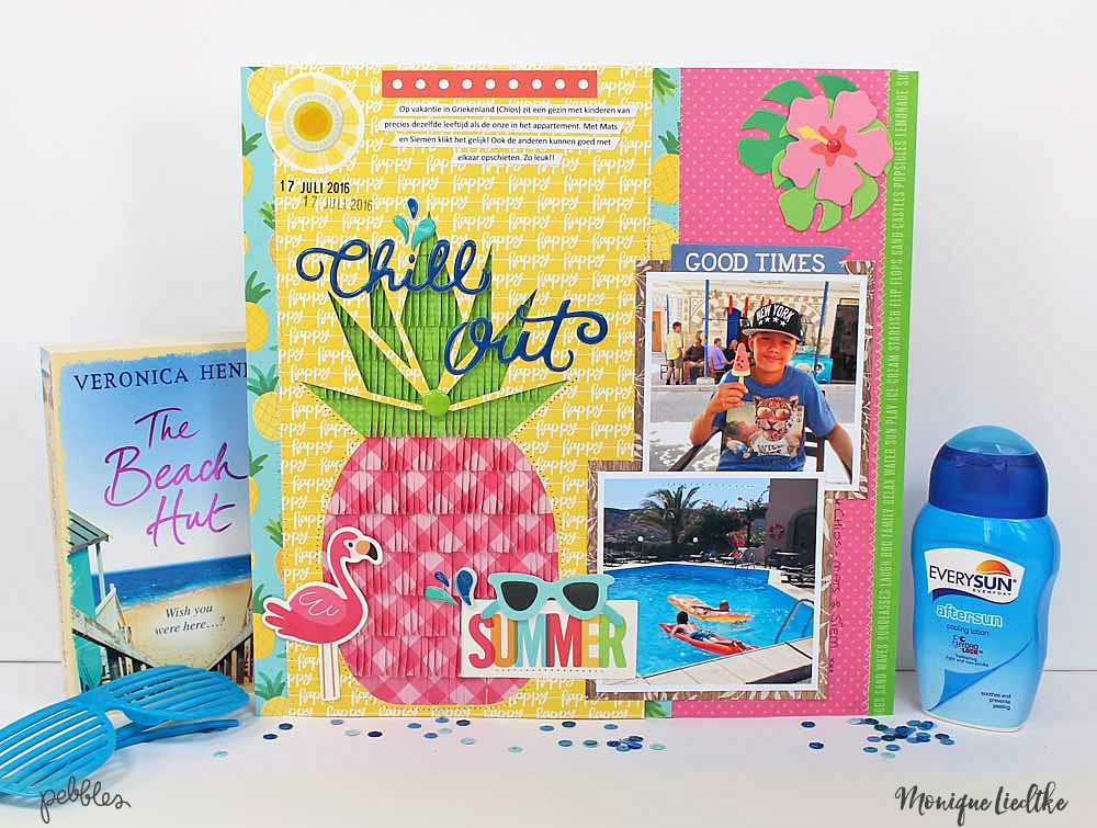 "A summery mix and match layout by @moniqueliedtke using the ""Sunshiny Days"" and the ""Fun in the Sun"" collections by @PebblesInc #madewithpebbles #pebblesinc #scrapbook_layout"