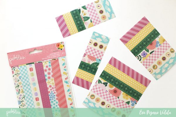 Learn how to create a fun background with washi tape strips in this tutorial from @evapizarrov using the new #tealightful collection by @pebblesinc #madewithpebbles #pebblesinc #scrapbook #layout