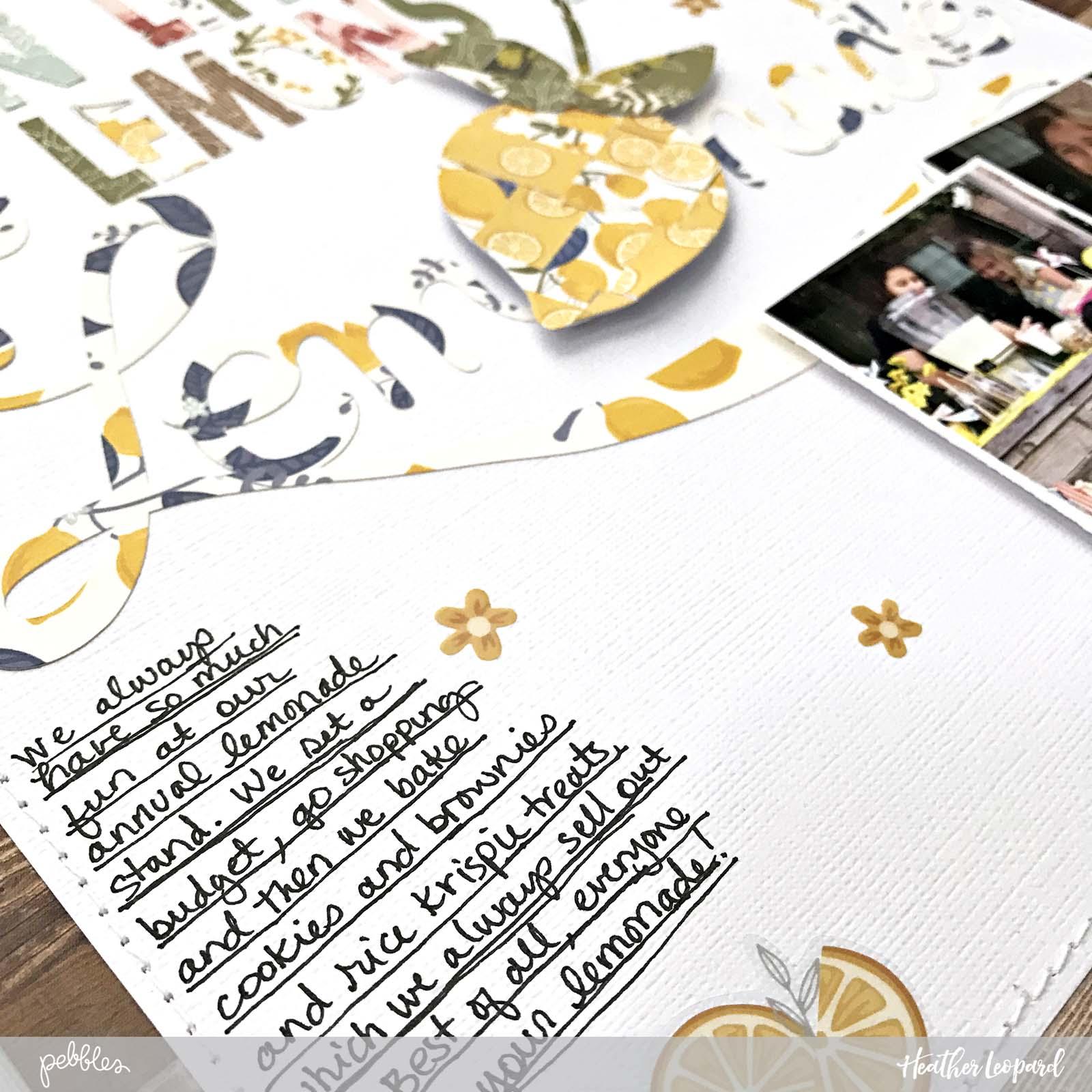 Make Lemonade Scrapbooking Layout by @heatherleopard using the @PebblesInc #jenhadfield #thesimplelife collection #scrapbooking #layout #lemonade #lemonadestand #madewithpebbles