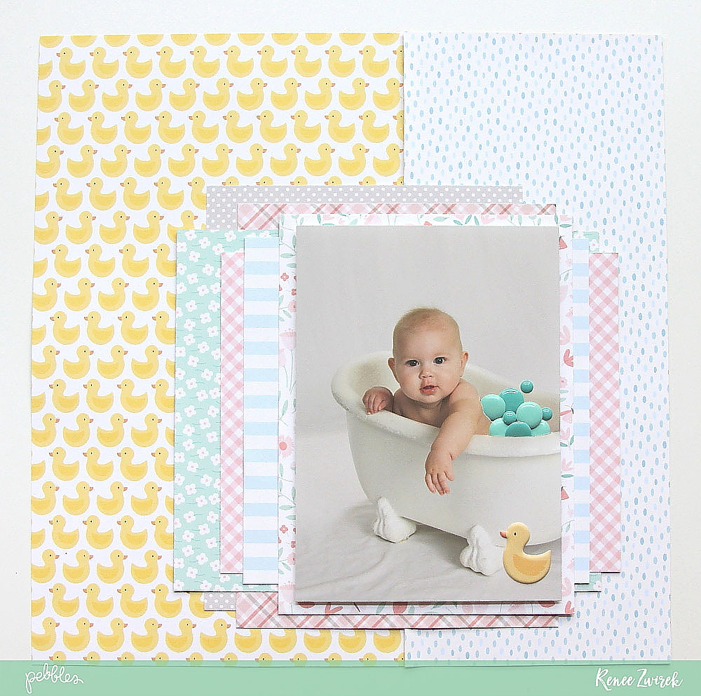 Create a Bath Time layout with lots of layers by @reneezwirek using the #Lullaby collection by @pebblesinc