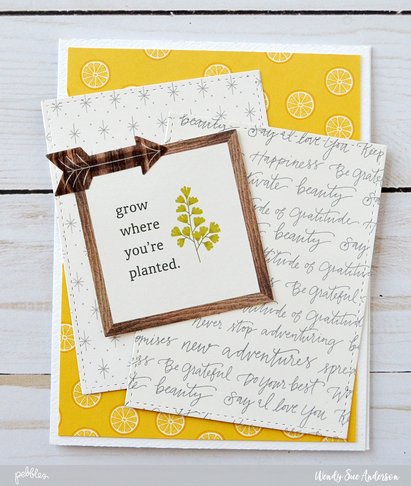 """step-by-step instructions by @wendysuea for creating pretty layered cards with the """"Simple Life"""" collection by @PebblesInc."""